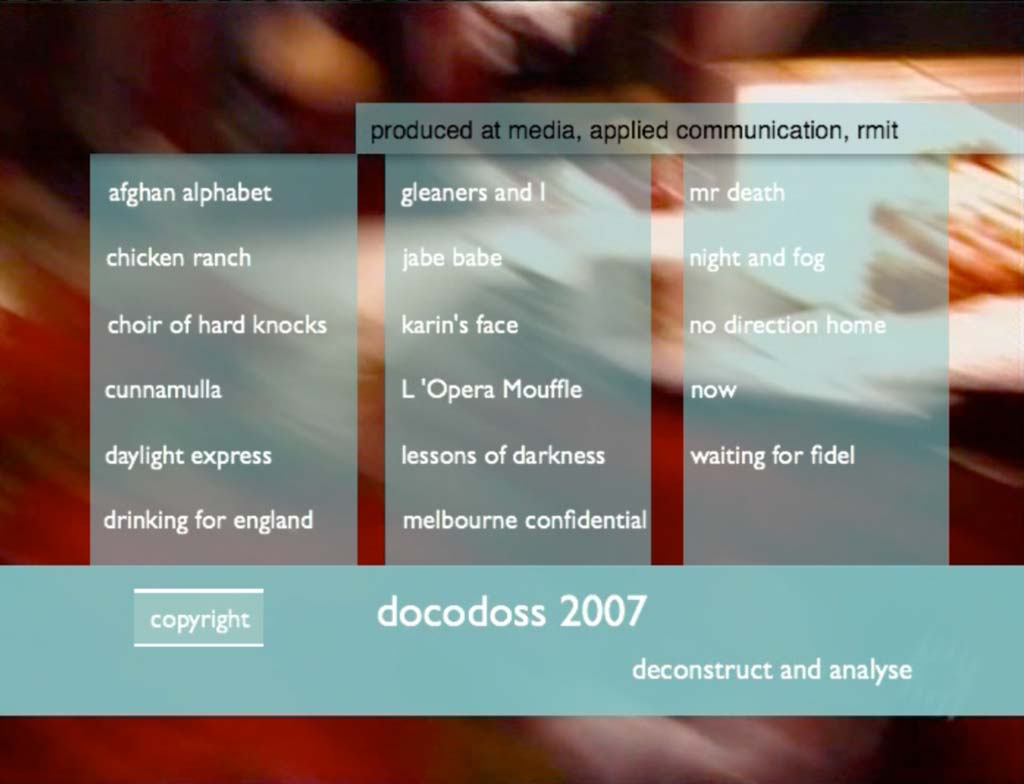 The front page/menu of the Docodoss – Digidoss2007
